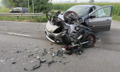 Schianto a Soncino, ferito un motociclista FOTO