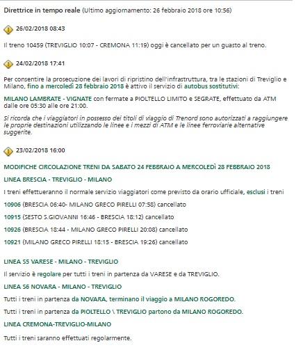 Maltempo: Lombardia, domani sospesi 30% treni Trenord