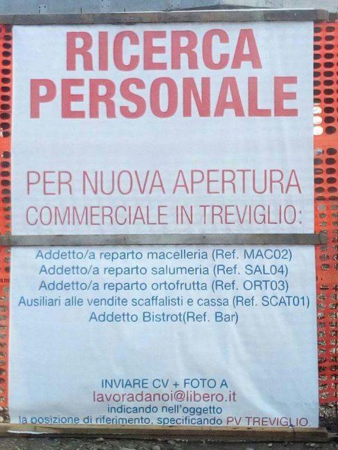 Ricerca personale area commerciale via Bergamo Treviglio