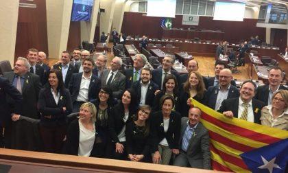 Leghisti catalani: manifestazione in Regione per Puigdemont &C.