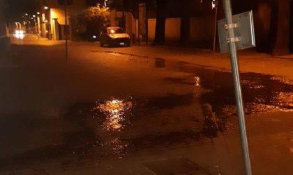 Strada allagata davanti al Comune, la colpa è dell'irrigatore
