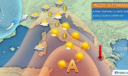 Tornano i temporali al nord caldo africano al sud