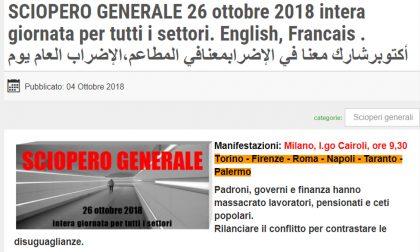 Sciopero generale 26 ottobre 2018 dei sindacati di base I CORTEI