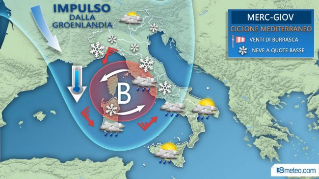 Arriva il ciclone mediterraneo: maltempo, vento e neve