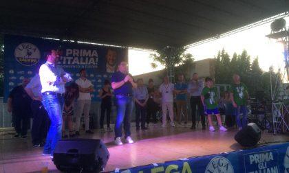 """Bagno di folla (e di sudore) per Matteo Salvini a Treviglio: """"Reti al confine con la Slovenia""""  FOTO"""