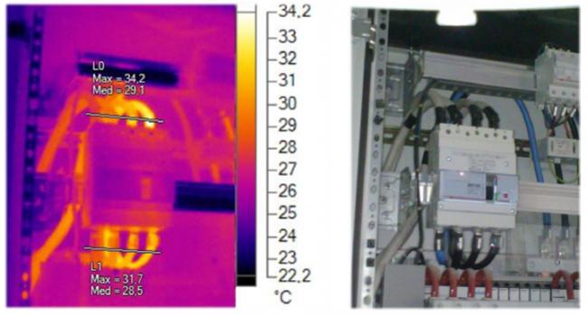 Un quadro elettrico come appare se verificato con la termografia