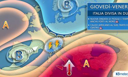 Italia divisa in due: nubifragi al Nord, caldo africano al Sud