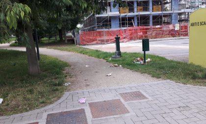 Degrado in zona Bollone, a terra bottiglie, mascherine e spazzatura FOTO