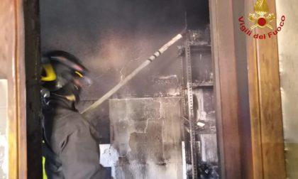 Fiamme nell'appartamento, Vigili del fuoco in azione in via Nazario Sauro FOTO