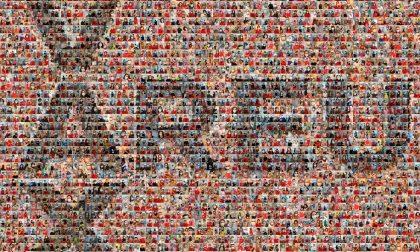 L'enorme collage di Areu con i volti della campagna vaccinale anti Covid