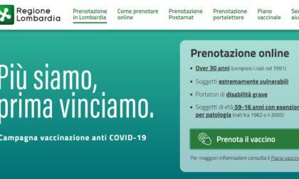 Aperte le prenotazioni del vaccino anti Covid-19 per i trentenni in Lombardia