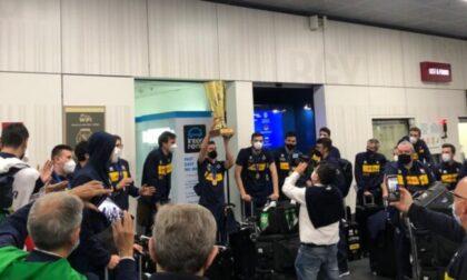 L'Italia della pallavolo campione d'Europa è atterrata questa mattina a Orio al Serio