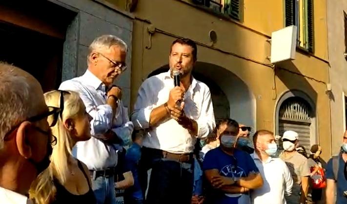 Matteo Salvini a Caravaggio con Giuseppe Prevedini
